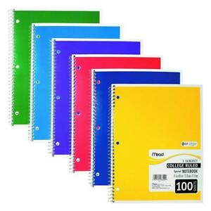 Mead One Subject Notebook College Rules Assorted Colors 100 Sheets pack