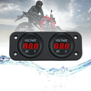 New 12 24v Car Motorcycle Dual Red Led Digital Voltmeter Abs For Marine Truck Us
