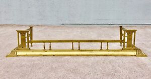 Antique Vintage Ornate Brass Fireplace Mantle Fender 54 L X 10 H X 12 D