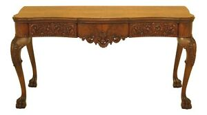 F30478ec Vintage 1930 S Carved Walnut Flip Top Console Table