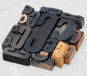 Ccccc Mixed Set Of Letterpress Wood Printing Blocks Type Woodtype Wooden Printer