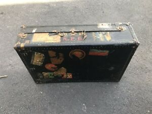 Antique Steamer Trunk Wardrobe Vintage Luggage Travel Train Steampunk Fire Dept