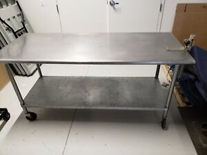 5 Stainless Kitchen Prep Tables On Wheels All 5 For 250