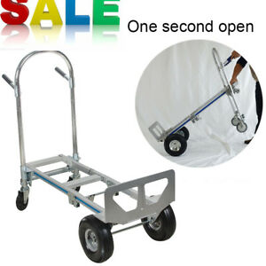 Hand Truck Moving Dolly 2 in 1 Convertible 4 wheel Platform Steel Cart New