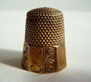 Antique Waite Thresher Co Gold Band 10 Panel Sterling Silver Thimble