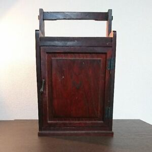 34 0 Cm Very Rare Japanese Old Sewing Makeup Vintage Wooden Box With Mirror I5