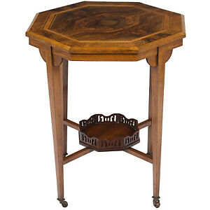 Antique Victorian Style Inlaid Walnut Side End Accent Bedside Table Nightstand