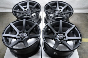 15 Black Wheels Fits Honda Accord Civic Fit Insight Prelude Cube Low Offset Rims