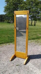 Antique Clothing Store Standing Full Length Mercantile Mirror Maple