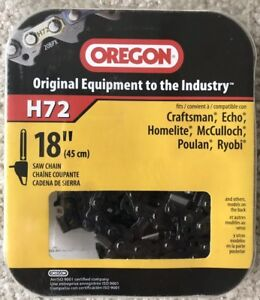 Oregon H72 18 Chainsaw Chain Fits Echo Craftman Homelite Mcculloch Poulan Ryobi