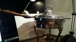 Bristol Silver By Poole Chafing Dish 118 W Stand And Burner Wood Handle Exc