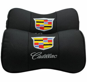 2pcs Cadillac Headrest Pillow Black Leather Look Car Seat Neck Rest Cushion