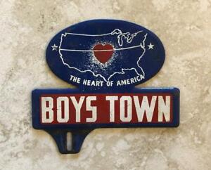 Boys Town Nebraska Vintage Automotive License Plate Tag Topper Original