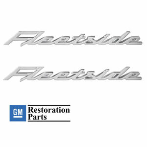2 1958 1959 Chevy Fleetside Rear Bed Script Chrome Emblems