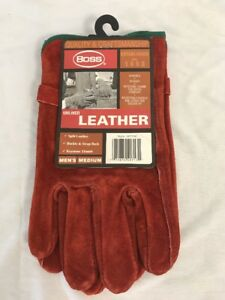 Boss Unlined Leather Work Gloves Rust Color Men s Medium