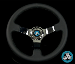 Rps 6 Bolt Black Chrome Racing Steering Wheel 350mm Deep Dish