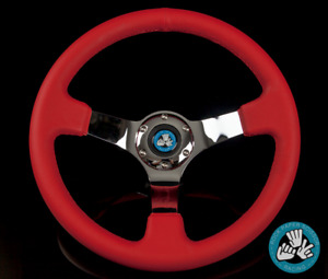 Rps 6 Bolt Red Chrome Racing Steering Wheel 350mm Deep Dish