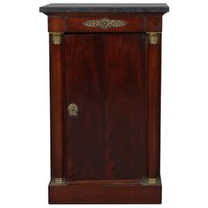 Antique French Empire Mahogany Bronze Marble Top Side Cabinet 20th Century