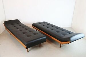 Pair Of Black Faux Leather Adrian Pearsall Chaise Lounge Day Beds