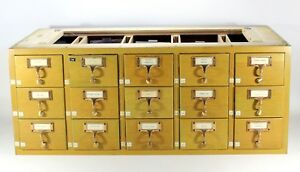 Library Card Catalog Vintage File Index Wooden Craft Cabinet Wood Box 15 Drawer