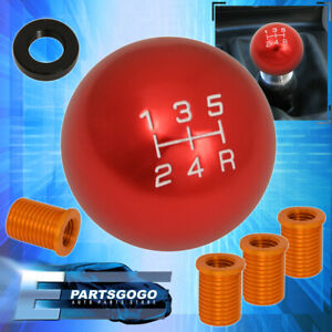 For Vw M8x1 25 5 Speed Round Gear Shift Knob Threaded Adapter Kit Selector Red