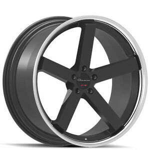 Set4 22 Staggered Giovanna Wheels Mecca Ff Black With Chrome Rims Fs