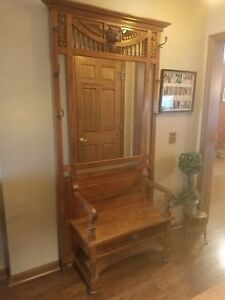 Antique Oak Hall Tree With Ornate Carving Bench Seat 84 Tall 44 Wide