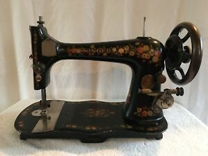 Antique 1889 Singer Vs2 Fiddlebase Treadle Sewing Machine Red Cream Roses Daisys