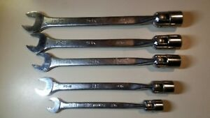 Sk 5 Piece Flex Head Open End Combination Wrenches 12 Point 7 16