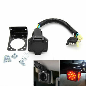 4 Flat To 7 Way Trailer Light Plug Wire Harness Converter Adapter For Rv Trucks