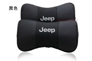 2pcs Jeep Headrest Pillow Black Leather Look Car Seat Neck Rest Cushion Pad
