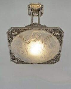 Degu French Art Deco Chandelier Bronze And Pressed Glass 1930 Muller Era