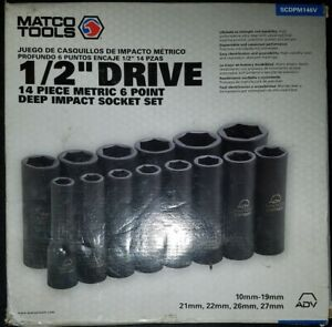 Matco Tools 1 2 dr 14pc Metric 6pt Deep Impact Socket Set scdpm146v
