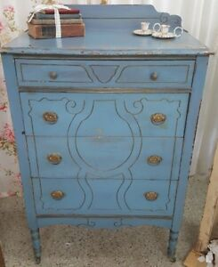 Antique French Blue Chest Of Drawers Dresser Casters Original Vintage Nursery