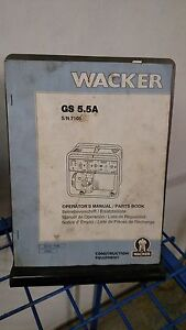 Wacker Gs 5 6a Generator Parts Book Operators Manual