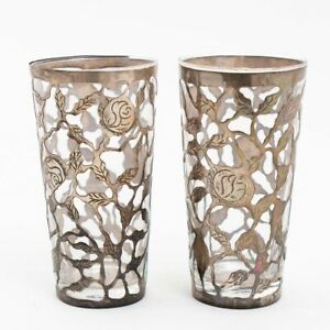 Set Of 2 Sterling Silver Overlay Openwork Wrapped Glass Tumblers Hecho En Mexico