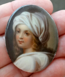 Girl Turban Antique Hand Painted Miniature Porcelain Plaque Portrait Painting
