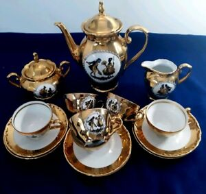 Collectible Hk Bavaria Germany Handarbeit 22 Karat Gold 15 Piece Tea Coffee Set
