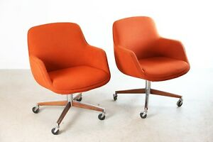 1970 s Orange Upholstered Office Chairs By Steelcase