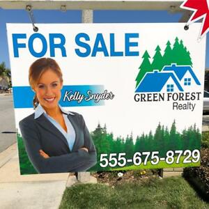 Custom 2 sided 24 X 36 Hanging Real Estate Sign