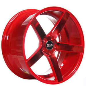 4pcs 20 Staggered Str Wheels 607 Neon Red Rims Fs