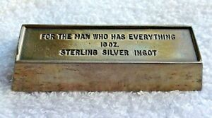 Towle Sterling Silver 10 Oz Bar For The Man Who Has Everything In Case Of Depres