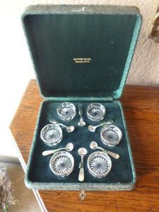 Howes Bros Clinton Iowa Sterling Silver Overlay Open Salts Spoons 6 With Box