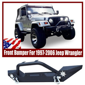 For 1997 2006 Jeep Wrangler Tj Front Bumper D Ring Winch Plate 2x Led Lights