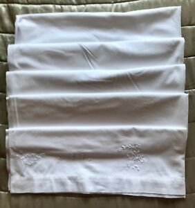 Antique Linen Sheet Vintage Bed Cover Hand Embroidery Drawn Exquisite Ice White