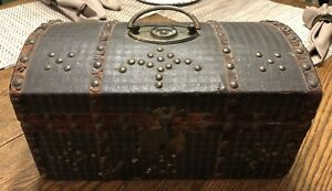 Early 18th 19th C Document Box New England Leather Hinges Lock Wallpaper Lined