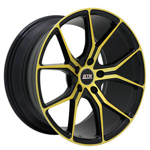 18x9 5x120 Str 602 Black W Gold Made For Bmw Pontiac Chevy