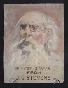 Antique Advertising Eye Doctor Optometry Oil Painting On Slate 1909 Sacramento