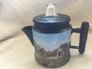 Old Camp Coffee Pot With Barn Scene