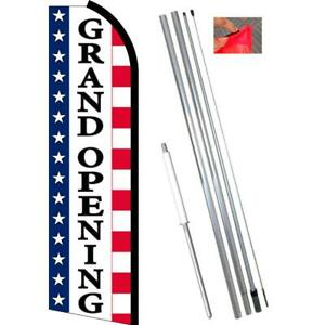 Grand Opening stars Stripes Flutter Feather Banner Flag With Bundle Option
